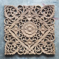 Buy Lotus Carved Wood Wall Art Panel from Bali Online