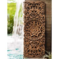 Buy Hand Carved Lotus Wall Art Panel Online
