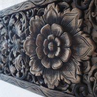 Buy Thai Lotus Wood Carving Wall Art Panel Online
