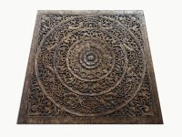 Grand Carved Teak Wood Wall Art Panel Plaque Decor ...