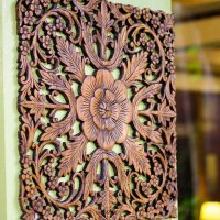 Thai Oriental Lotus Wood Carving Wall Art Hanging - Siam ...