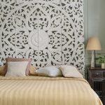 Kingsize Headboard Balinese Wooden Panel In Boho Design