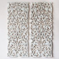 Buy Pair of Wall Art Panel Wood Carving Sculpture Online