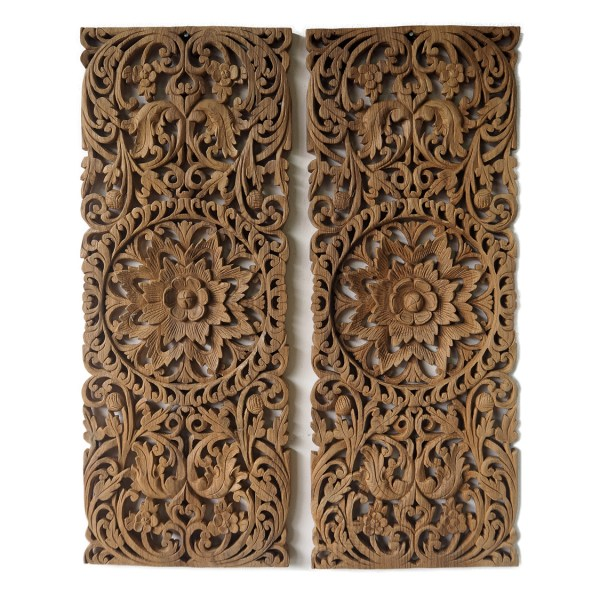 Pair Of Carved Wood Panel Bed Headboard Online