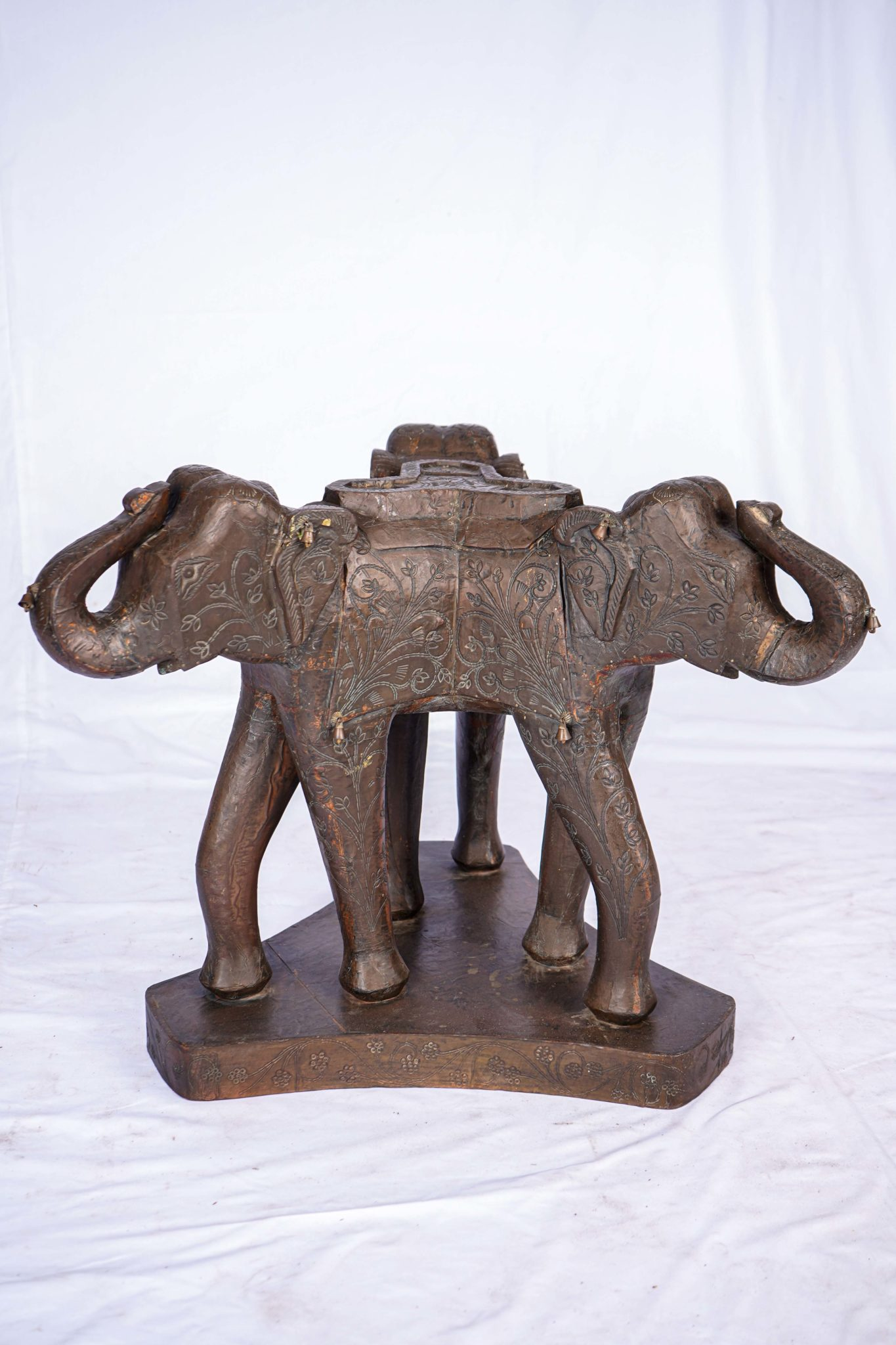hand carved wooden elephant coffee table indian design