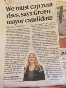Sian Recently talked to the Evening Standard about private rents and her concerns about spiralling costs,