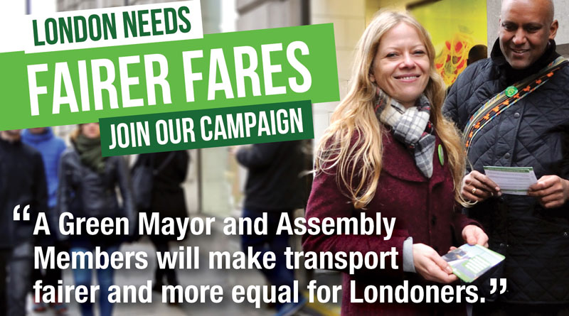 Sian Berry and Shahrar Ali promoting fair fares