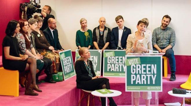Caroline Lucas speaking at the Green Guarantee launch - photo from Splento