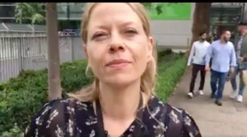 Sian Berry at the Camden towers evacuation centre