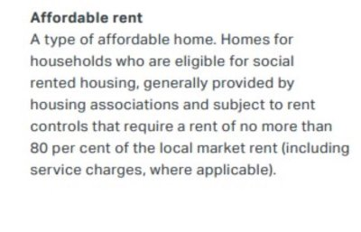 Affordable rent in the housing strategy glossary