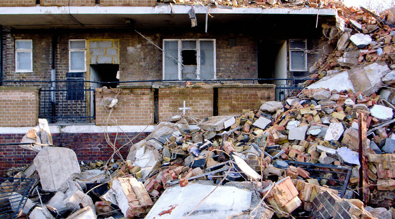 Woodberry Down demolition by Nico Hogg on flickr