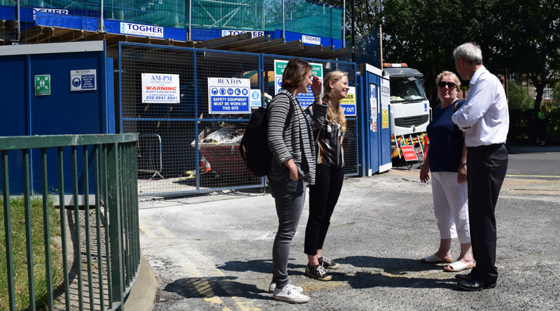 Sian Berry visiting Leathermarket social housing development