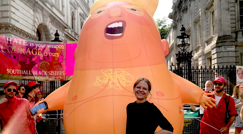 Sian Berry with Trump Baby protest balloon at Downing Street