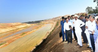 Chief Minister K Chandrasekhar Rao inspecting Annaram barrages under Kaleshwaram Project lift irrigation scheme in Telangana