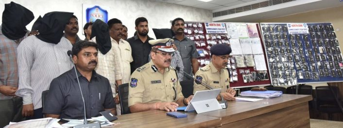 Commissioner of Police, Hyderabad city Anjani Kumar addressing Media persons at Commissioner office in Hyderabad on Monday, in connection with illegal visa consultancy gang in which 5 persons held seized 100 passports, rubber stamps, net cash etc. They are altering and reconstructing Indian passports, producing high quality counterfeit documents for purposes of traveling in abroad.