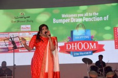 The bumper draw for Siasat shopping Dhoom was conducted at Lalit Kala Thoranum, Nampally followed by a cultural and comedy programme. The draw was picked by M/s Taqiuddin Shaji and Amer Ali Khan for Renault Car and Hero Glamour mororbike. The entire hall was jam packed and the audience enjoyed a good night of songs, comedy and Qawwali. Mr. Zahid Ali Khan, editor Siasat and Mr. Iftekhar Hussain can also been in the picture.Photo:Laeeq