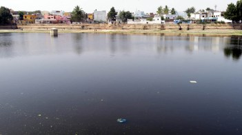 Neglected for decades and taken over by Water hyacinth and trash, The 450-year-old tank Cup Shaped Water tank is all set to get a New lease of life and become a tourism spot soon:Photo:Laeeq