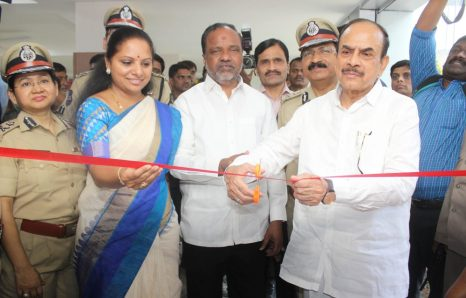 Telangana Director General Of Police M Mahendra Reddy, Telangana Home Minister Mohammad Mahmood Ali and TRS MP K Kavitha interacting during inaugurate of Women Safety Wing Building in Hyderabad
