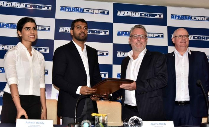 Aparna Enterprises Ltd, Mr Grant Craft , Chairman Craft Holdings Limited, Mr. Stuart Orr, CEO, Craft Holdings Limited at the signing of the JV agreement for Aparna-Craft Exteriors Pvt Ltd, today in Hyderabad
