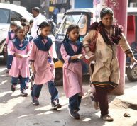 Telangana Minorities residential School for Girls Shah Ali Banda students after they were discharged from Princess Esra Hospital in old city of Hyderabad