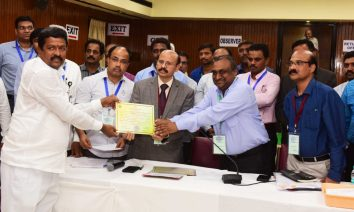 Newly elected MLCs pose for a photograph with Returning Officer Dr.V.Narsimha Charyulu, and Obsorver Shaishank Goyal,IAS Officer at Assembly:Photo:Laeeq