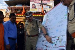 Hyderabad Police Commissioner Anjani Kumar, GHMC Commissioner Dana Kishore and other top officials inspecting the Hanuman Shobhayatra procession route from Hunaman Temple Gowliguda to Tadbund