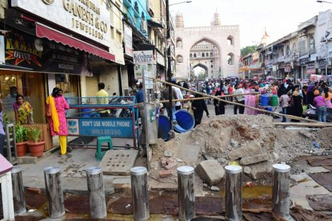 Under Charminar Pedestrianisation Project, Automatic Hydraulic Gate works are in progress in front of historic Charminar