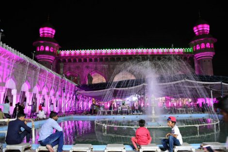 Historic Mecca Masjid illuminated ahead of the Holy Month of Ramzan in Old City in Hyderabad:Photo:Laeeq