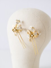 gold floral bridal hair pins