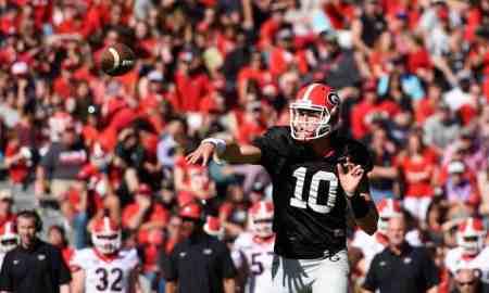Georgia quarterback Jacob Eason (10) throws the ball during the annual G-Day game at Sanford Stadium on Saturday, April 16, 2016, in Athens, Georgia. (Photo by David Barnes)
