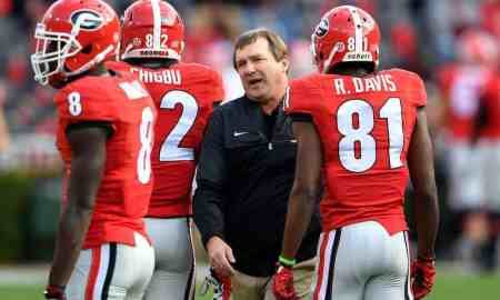 Nov 12, 2016; Athens, GA, USA; Georgia Bulldogs head coach Kirby Smart shown greeting his players on the field prior to the game against the Auburn Tigers at Sanford Stadium. Mandatory Credit: Dale Zanine-USA TODAY Sports