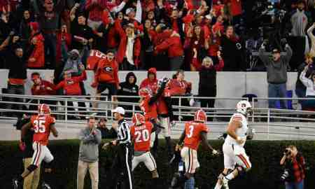 Nov 12, 2016; Athens, GA, USA; Georgia Bulldogs defensive back Maurice Smith (2) reacts with safety Dominick Sanders (24) after he intercepted a pass and returned it for a touchdown against the Auburn Tigers during the second half at Sanford Stadium. Georgia defeated Auburn 13-7. Mandatory Credit: Dale Zanine-USA TODAY Sports