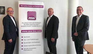 Der neue geschäftsführende Vorstand der ASW-BW (von links): Jürgen Wittmann, Präsident, Manfred Jilg, Vizepräsident, André F. Kunz, Geschäftsführer. Die weiteren Vorstandsmitglieder nahmen aufgrund der aktuellen Corona-Lage online an der Sitzung t