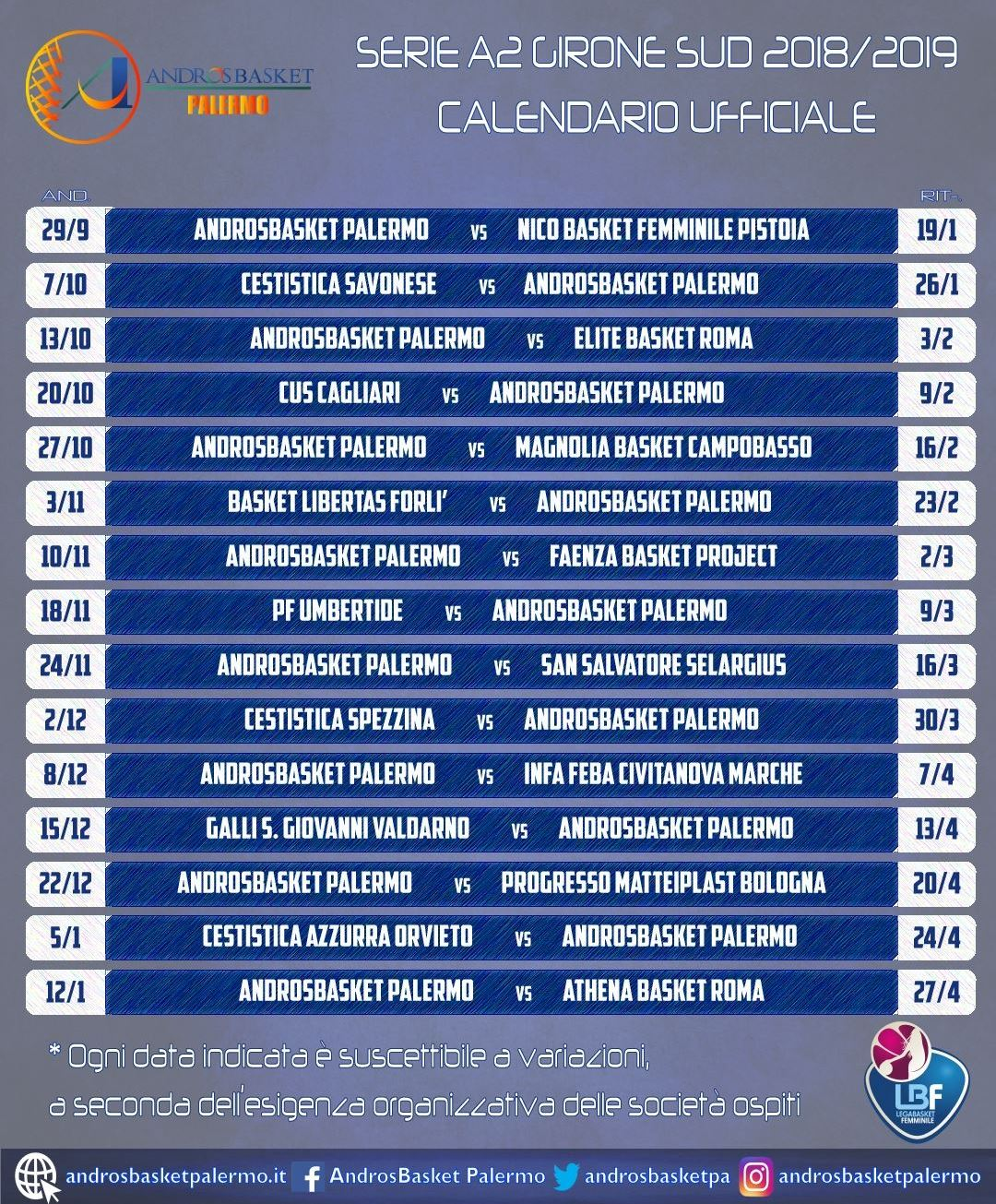 Serie A2 Basket Calendario.Androsbasket Palermo Ufficiale Il Calendario Della Nuova