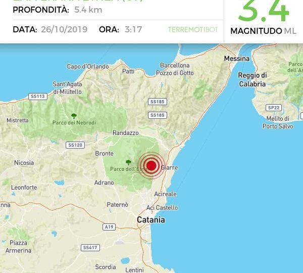 """Etna: sisma di magnitudo 3.4 nella notte. Sciame sismico con due """"famiglie""""diverse"""