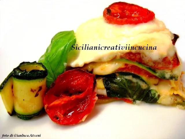 Summer Veggie lasagna with tomato confit and Zucchini