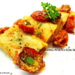 Paccheri pasta with tomato confit and bread crumbs