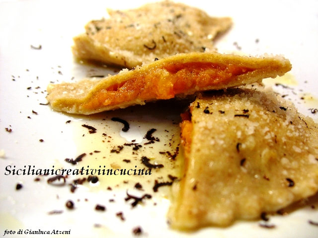 Raviolis de calabaza con harina de trigo integral