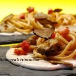 Spaghetti aux artichauts à la pancetta et truffe