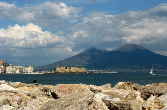 Looks like a postcard but is Naples, view from Mergellina