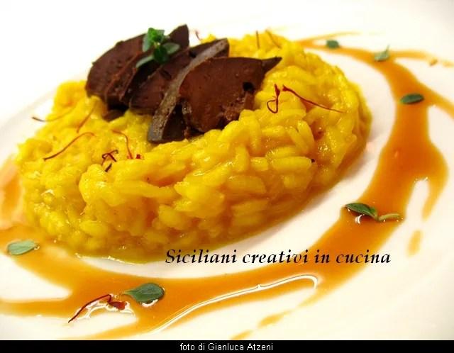 Saffron risotto and chicken livers