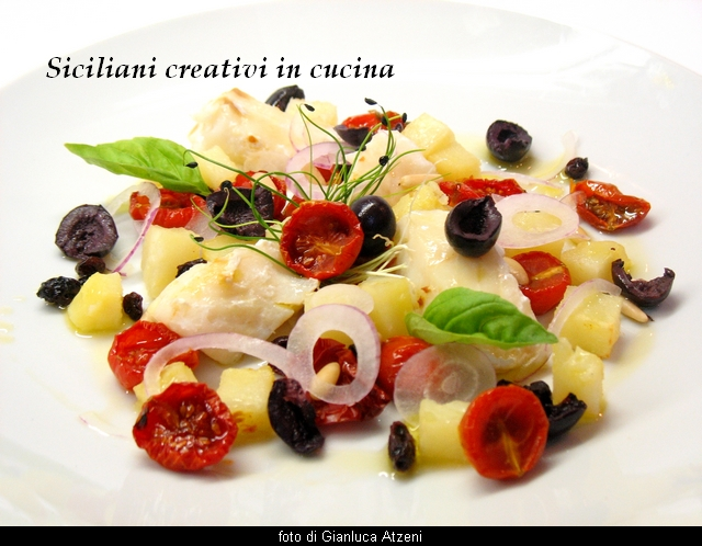 Salt cod salad, potatoes, red onions and tomatoes