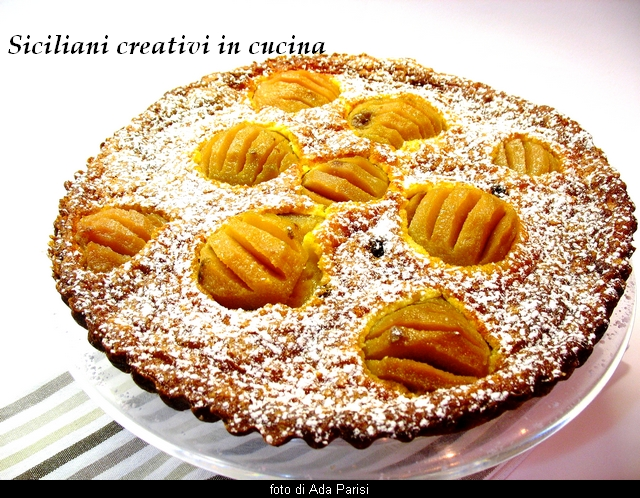 Tarte of cooked cream and pears