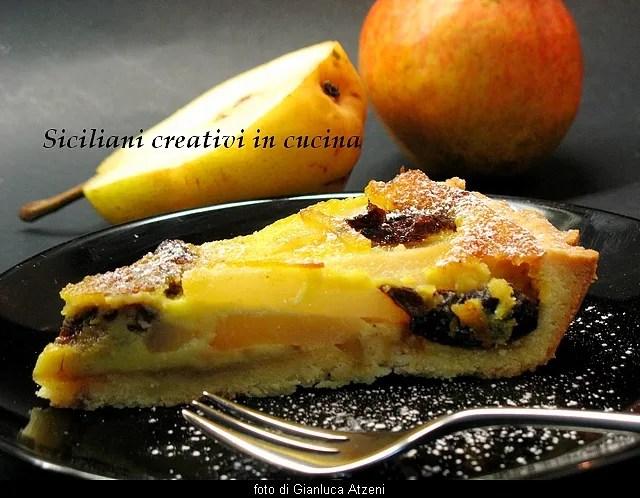 Tarte aux poires prunes et crème