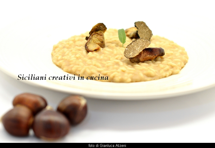 Chestnut risotto with porcini mushrooms and truffles