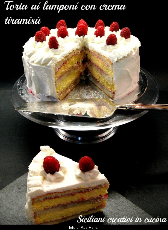 Angel food cake with raspberries with cream tiramisu