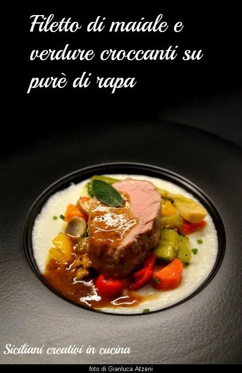 Filetto di maiale e verdure croccanti su purè di rapa
