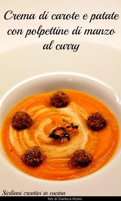 Velouté de carottes et pommes de terre avec des galettes de boeuf au curry
