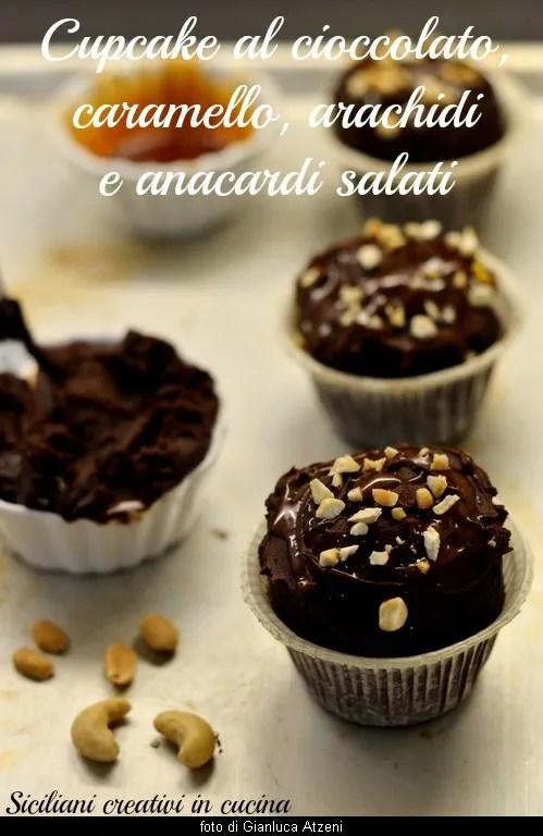 キャラメルとピーナッツチョコレートカップケーキ