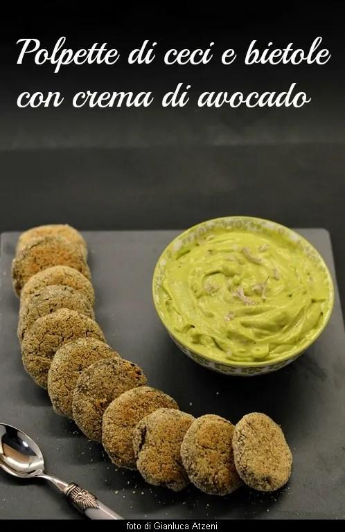 Polpette di ceci e bietole con crema di avocado